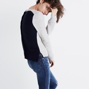Madewell Backroad Button-Back Colorblock Sweater